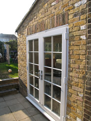 Double doors in kitchen extension